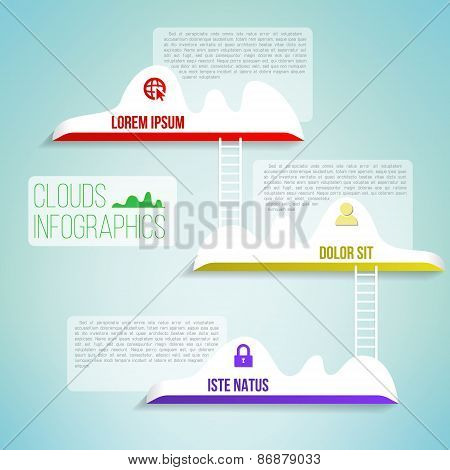 Clouds with the ladder simple clean infographics design. Network business background. Vector illustr