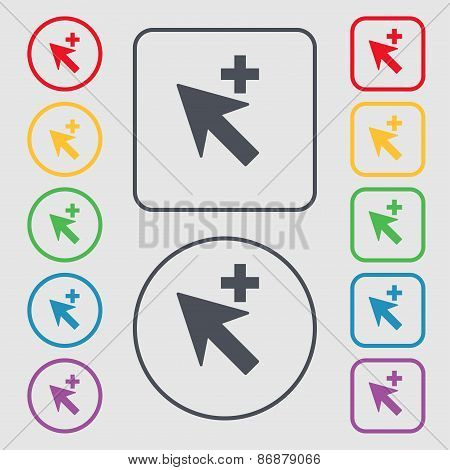 Cursor, Arrow Plus, Add Icon Sign. Symbol On The Round And Square Buttons With Frame. Vector