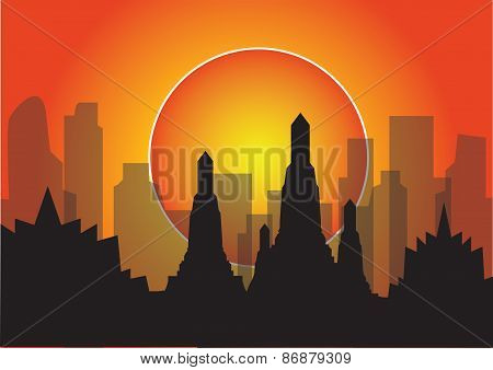 Vector Illustration Sunset City Life Building Highrise Concept