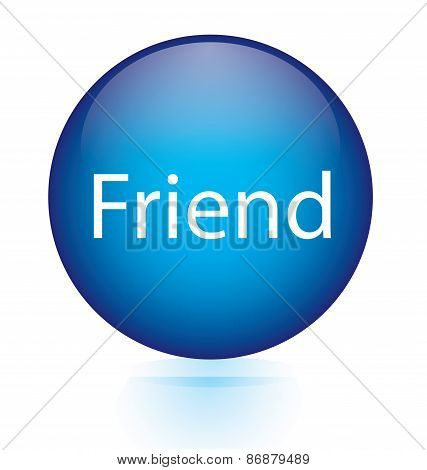 Friend word blue button
