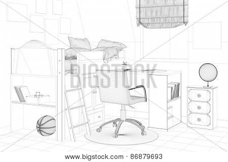 CAD planning of nursery room with wiremesh frames of bed and desk (3D Rendering)