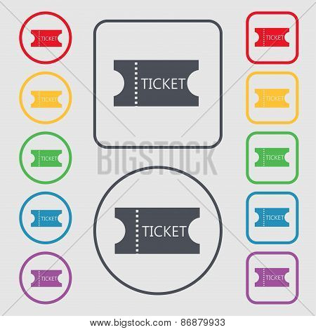 Ticket Icon Sign. Symbol On The Round And Square Buttons With Frame. Vector