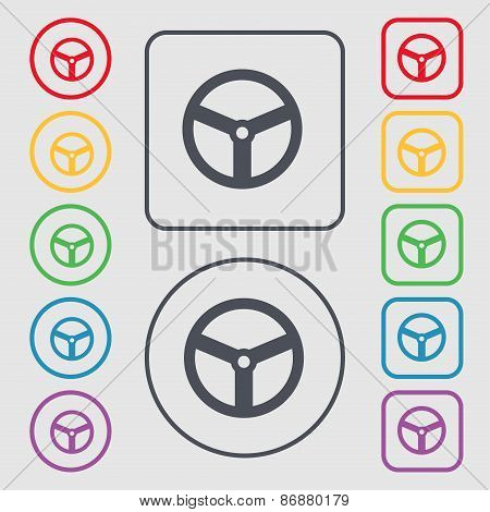 Steering Wheel Icon Sign. Symbol On The Round And Square Buttons With Frame. Vector