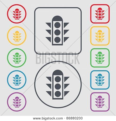 Traffic Light Signal Icon Sign. Symbol On The Round And Square Buttons With Frame. Vector