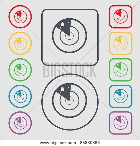 Radar Icon Sign. Symbol On The Round And Square Buttons With Frame. Vector