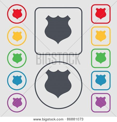 Shield Icon Sign. Symbol On The Round And Square Buttons With Frame. Vector