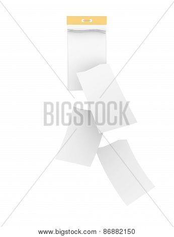 White tear-off calendar with detached sheets. Isolated