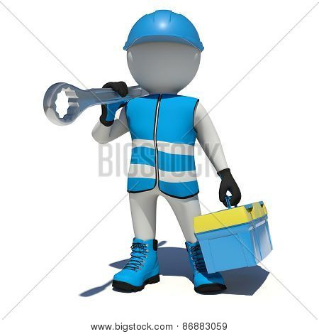 Worker in overalls holding tool box and wrench on his shoulder. Isolated