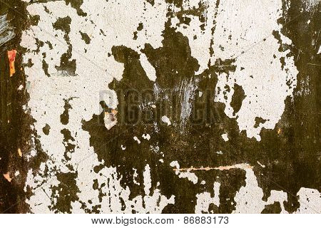 Abstract Background Gloomy Concrete Wall, Casually Painted Dark Green Paint, Weathered With Cracks A