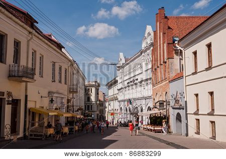Urban view of the Old Town of Vilnius with beautiful historical architecture on a sunny summer day