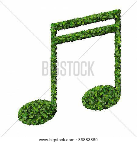 Musical note double semiquaver symbol made from green leaves isolated on white background.