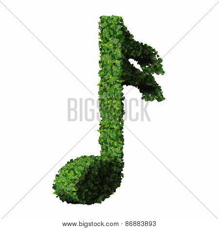 Musical note semiquaver symbol made from green leaves isolated on white background.