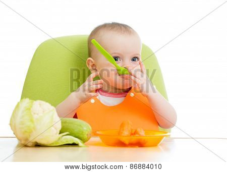 baby sitting at table with healthy food