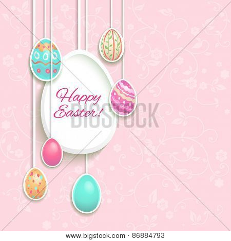 Easter holiday card with hung eggs. Place for text