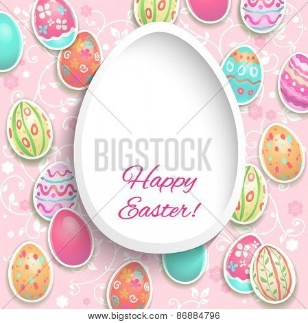 Easter frame with painted holiday eggs with place for text