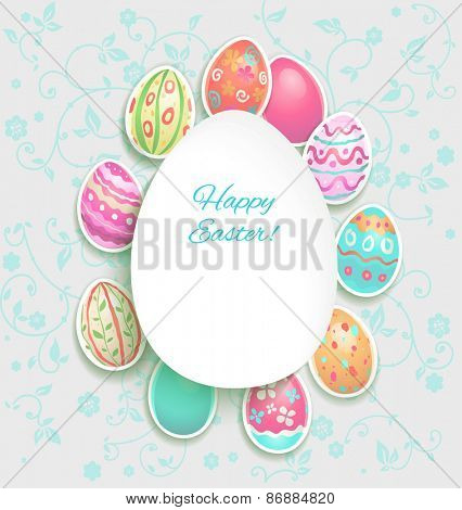 Spring holiday card with easter painted eggs. Copy space