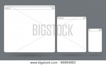 Flat blank browser windows for different devices. Vector Template for your content