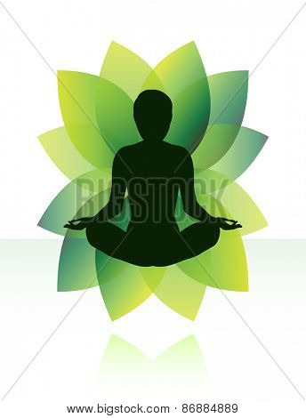Zen yoga meditation silhouette in lotus pose.