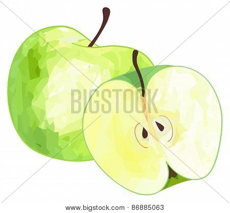 Delightful Garden - Green Apple And Its Half With Polygonal Pattern