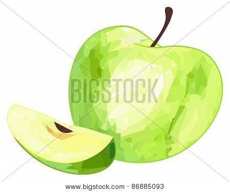 Delightful Garden - Green Apple And Its Slice With Polygonal Pattern
