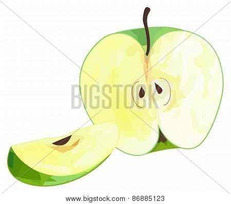 Delightful Garden - Half Of Green Apple And Its Slice With Polygonal Pattern