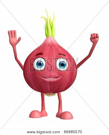 Onion Character With Saying Hi Pose