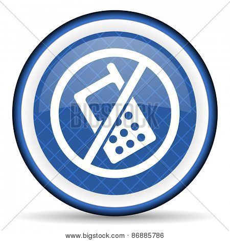 no phone blue icon no calls sign