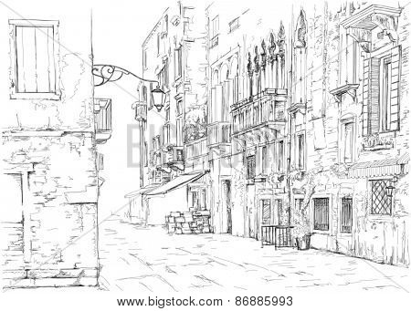 Venice - Calle Fondamenta Megio. Ancient building.