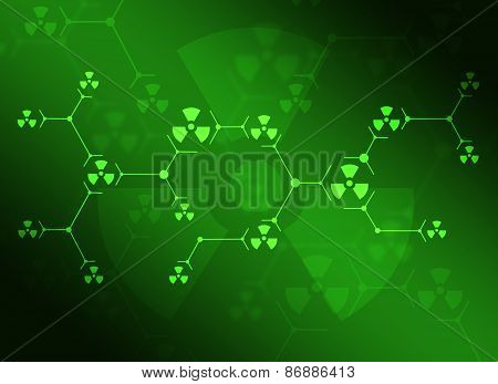 Composition of green lines and radiation signs
