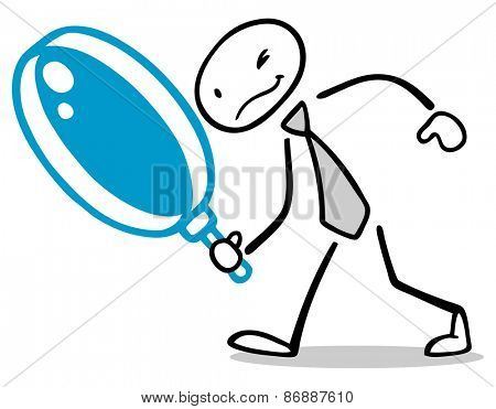 Drawn business man with big magnifying glass searching for solution