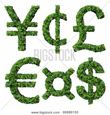 Money symbols: yen, cent, pound, euro, dollar, currency, made from green leaves.