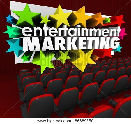 Entertainment Marketing in 3d words and stars shooting out of a movie or cinema theatre screen to illustrate brand engagement and advertising with an audience or customers