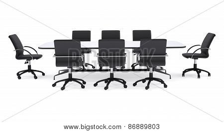Conference table and black office chairs. Isolated