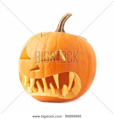 Jack-o'-lanterns orange pumpkin head isolated