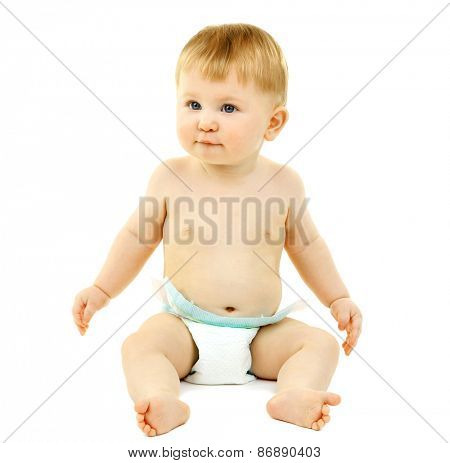 Portrait of cute baby, isolated on whit