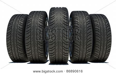 Wedge of five black car wheels. Isolated on white background