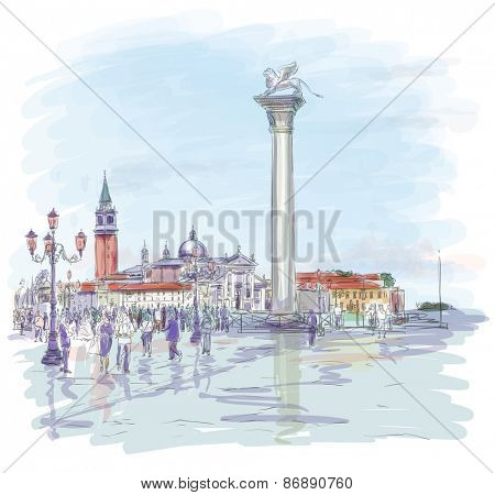 Venice. Piazza San Marco. Doge's Palace and the view of the island of San Giorgio Maggiore