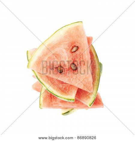 Pile of watermelon pieces isolated