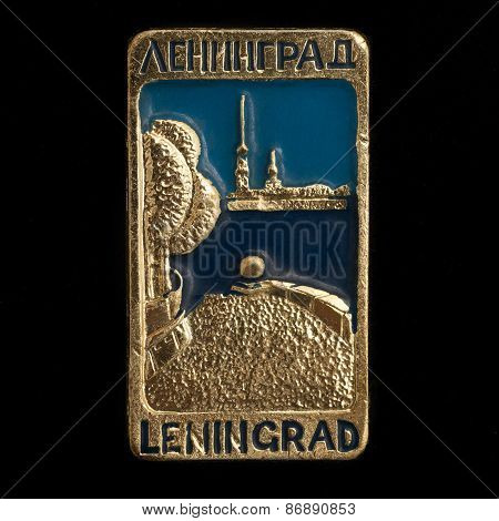 Soviet badge with two inscriptions Leningrad