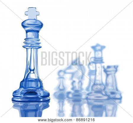 Chess figures, led by King on a white background