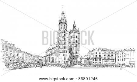 The town square in Krakow & Church of St. Mary. Poland. Black & white sketch