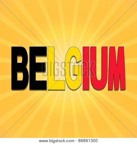 Belgium flag text with sunburst illustration