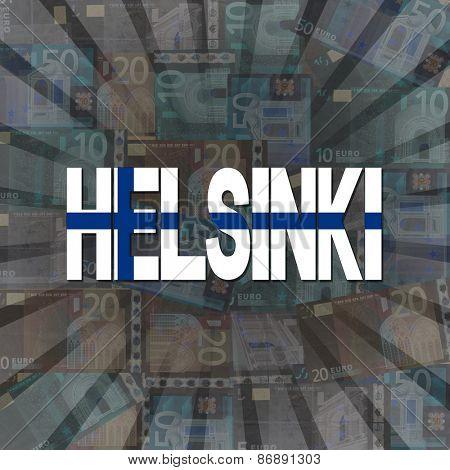 Helsinki flag text on Euros sunburst illustration