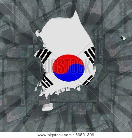 South Korea map flag on Won sunburst illustration