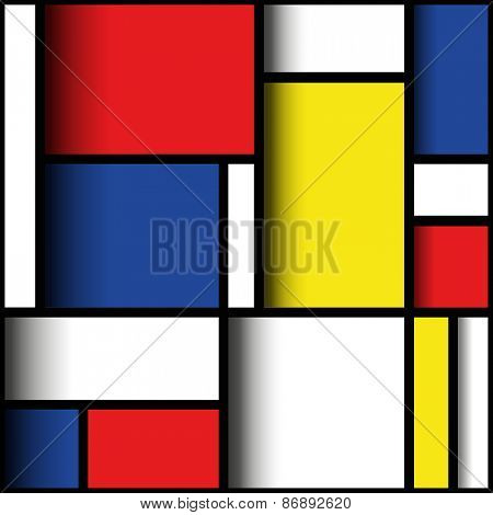 Geometric design in primary colours, with three dimensional layered effect. Mondrian style.