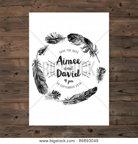 Brochure template with feathers wreath and save the date type design