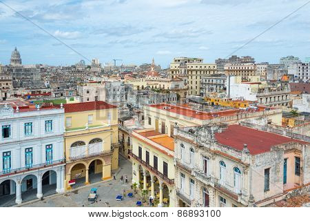 Panoramic view of Old Havana on a beautiful clear day