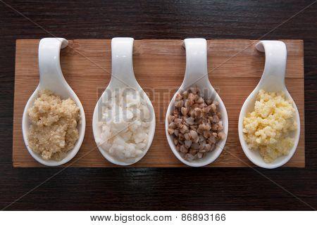 Cereals - buckwheat, rice, millet, wheat groats