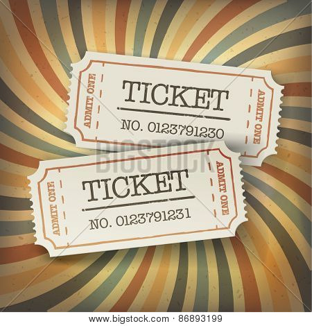 Two cinema tickets. On retro sunburst background