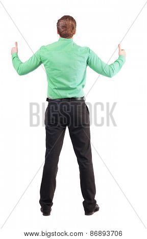 Back view of  business man shows thumbs up. Rear view people collection. cheerful office worker shows positive emotions.  backside view person. Isolated over white background. o